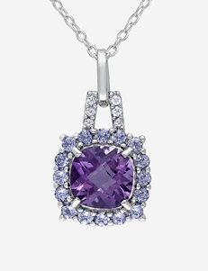 Sterling Silver 2 1/3 CT. T.W. Gemstones & Diamond Accent Pendant