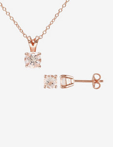 Rose Gold Plated Silver 1.8 CT. T.W. Morganite Pendant & Earrings Set