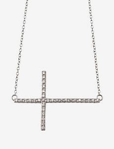 Sterling Silver CZ Sideways Cross Pendant