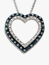1/10 CT. T.W. Blue & White Diamond Sterling Silver Heart Pendant