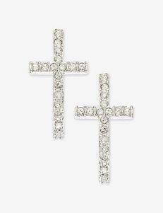 Round Cut CZ Cross Earrings