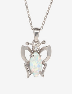 Created Opal Sterling Silver Butterfly Pendant