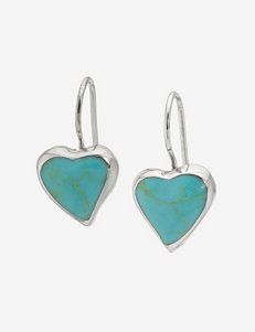 Athra Sterling Silver Turquoise Heart Drop Earrings