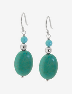 Athra Sterling Silver Turquoise Round & Oval Bead Drop Earrings