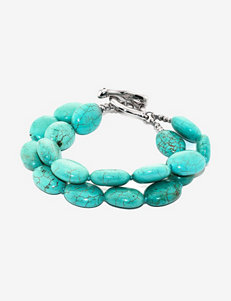Athra Sterling Silver Turquoise Double Strand Bracelet