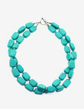 Athra Sterling Silver Turquoise Double Strand Necklace