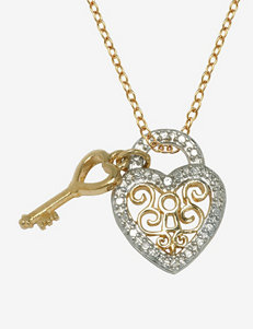 Diamond Accent 18K Gold Plated Heart Lock With Key Pendant