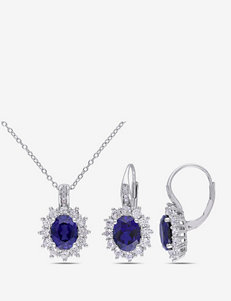 12 1/10 CT. T.W. Created Blue & White Sapphire Sterling Silver Pendant & Earrings Set
