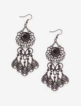 Hannah Black Tone Filigree Beaded Teardrop Earrings