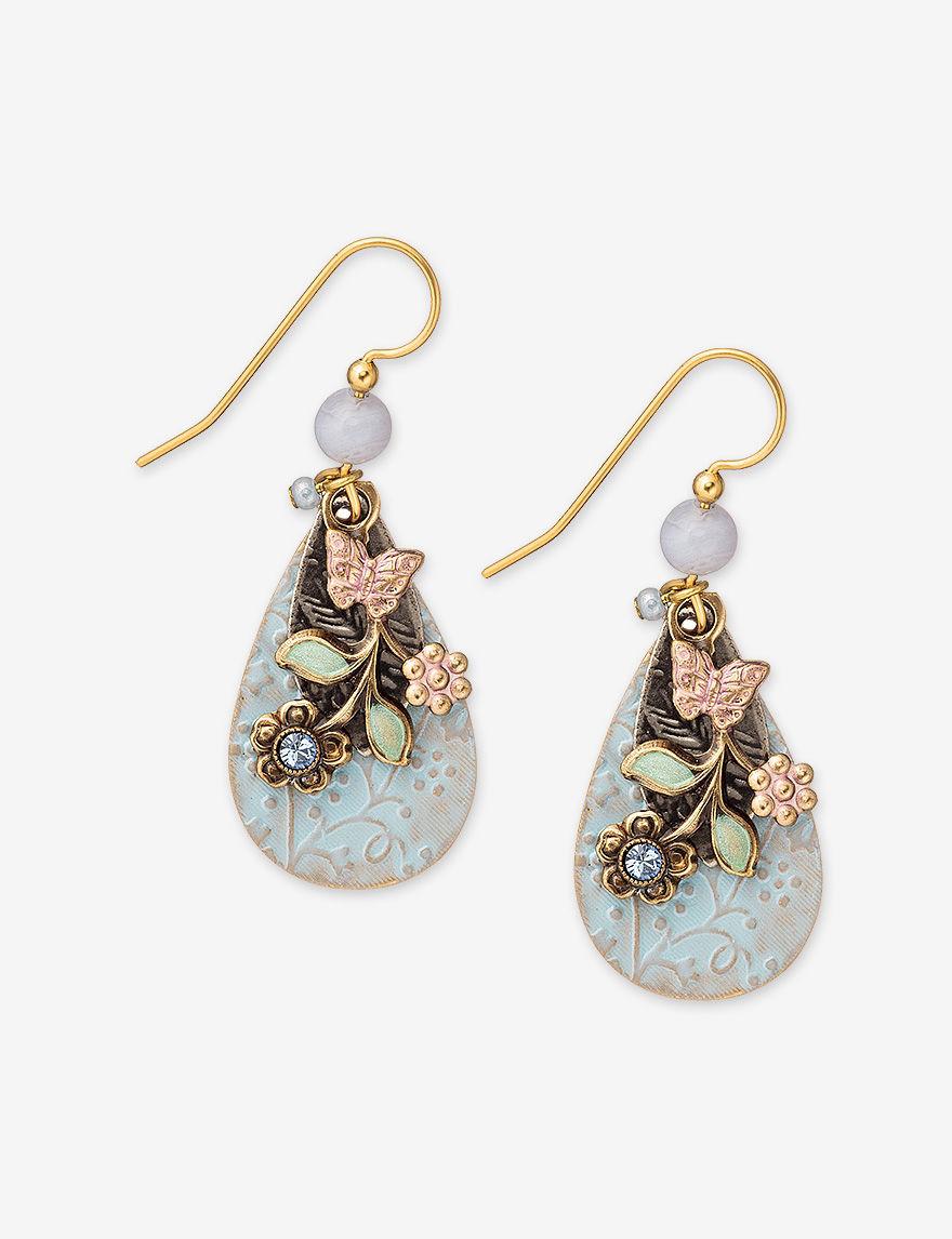 silver forest gold tone flower element teardrop earrings