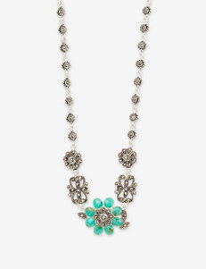 Fine Silver Plated Turquoise Floral Marcasite Necklace
