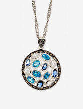 Genuine Marcasite Blue CZ Circle Pendant