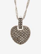 Genuine Marcasite Heart Pendant