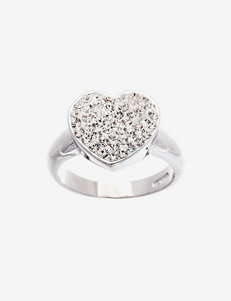 Crystal Accented Heart Ring