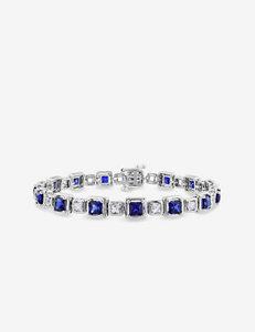 7 1/2 CT. T.W. Sterling Silver White & Blue Sapphire Bracelet