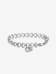 1/2 CT. T.W. Sterling Silver Diamond Heart Link Bracelet