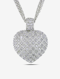 1 CT. T.W. Sterling Silver Diamond Heart Necklace