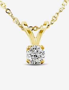 1/10 CT. T.W. 14K Yellow Gold Diamond Solitaire Pendant