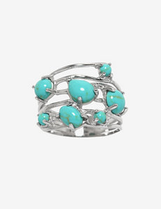 Athra Sterling Silver Pear Shape Manufactured Turquoise Ring