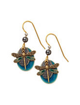 Silver Forest Blue Dragonfly & Disc Drop Earrings