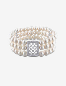 Cubic Zirconia & Sterling Silver White Pearl Bracelet