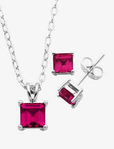 PAJ Inc. Brass Fine Silver Plated Genuine Ruby Square Ear & Pendant Set