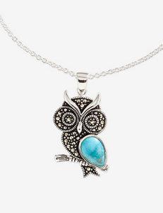 Marcasite Opaque Owl Necklace