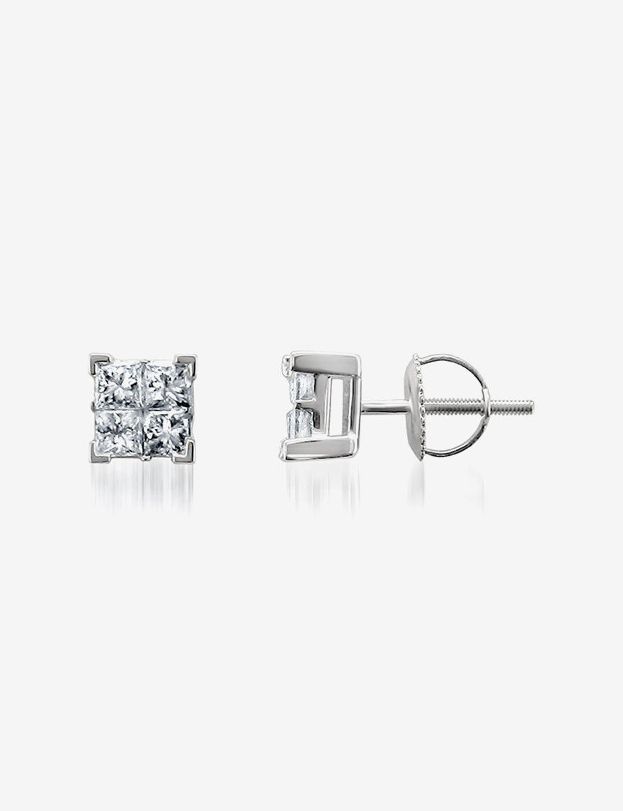 La4ve Diamonds White Studs Earrings Fine Jewelry