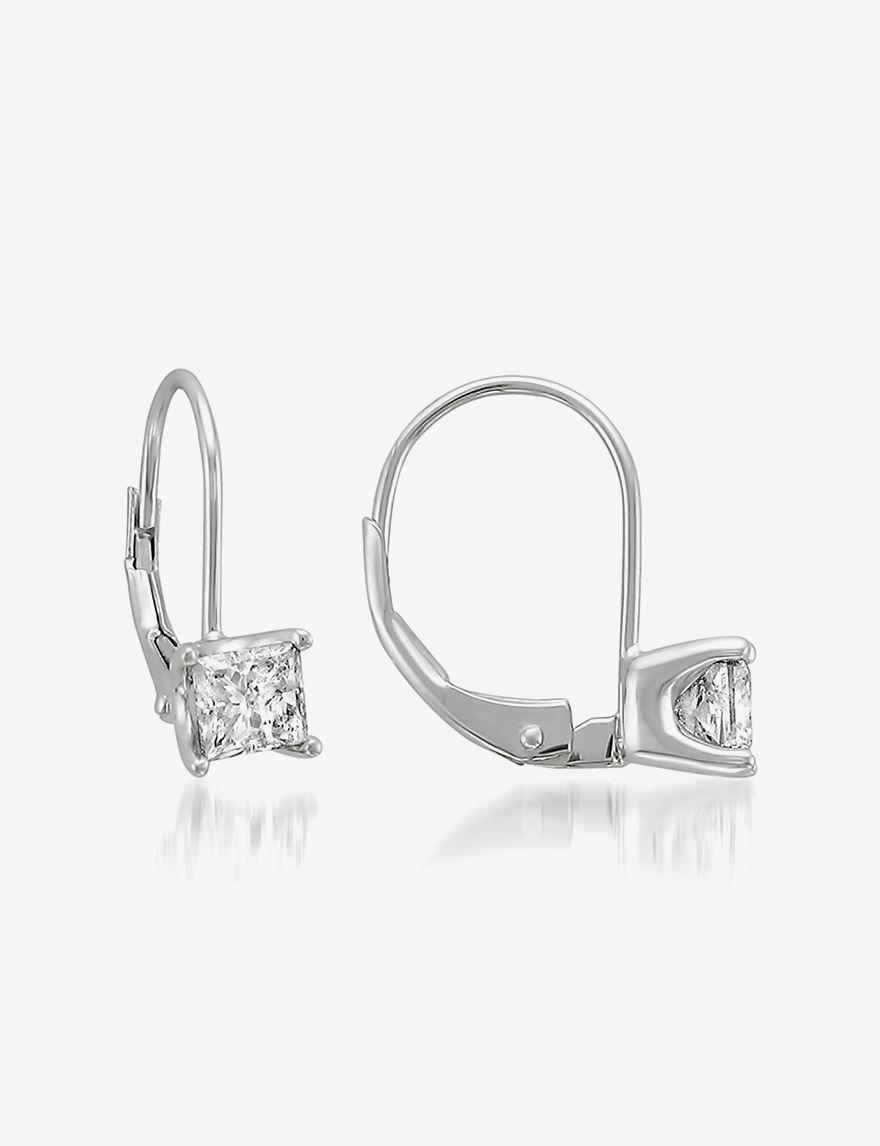 La4ve Diamonds White Hoops Earrings Fine Jewelry