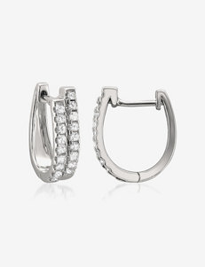 La4ve Diamonds White Hoops Earrings Fine Jewelry