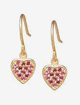 Athra Gold Over Sterling Silver Heart Drop Earrings