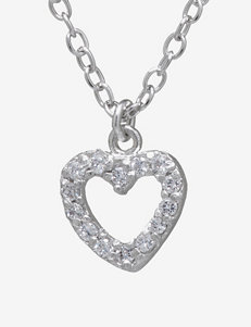 Athra Sterling Silver Cubic Zirconia Heart Necklace