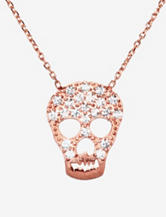 Athra Rose Gold Over Sterling Silver Cubic Zirconia Skull Necklace