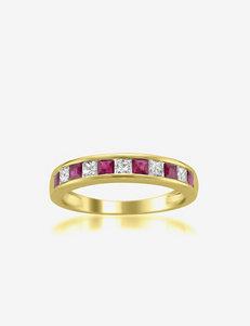 La4ve Diamonds Princess Cut Diamond & Red Ruby 14K Yellow Gold Wedding Ring