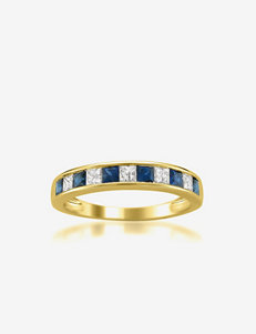La4ve Diamonds Princess Cut Diamond & Blue Sapphire 14K Yellow Gold Wedding Band