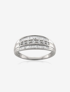 La4ve Diamonds 1/2 CT. T.W. Princess & Baguette Cut Diamond 14K White Gold Band