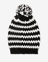Collection 18 Black & White Striped Pom Hat