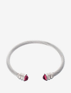 NES Stainless Steel Pink Glass Twist Bangle