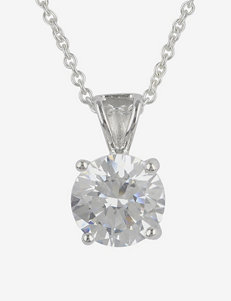Sterling Silver Round Cubic Zirconium Pendant
