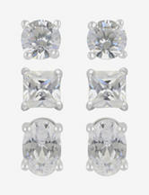 Sterling Silver 3-Pair Cubic Zirconium Stud Earrings Set