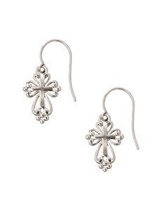 Athra Sterling Silver Scroll Cross Drop Earrings