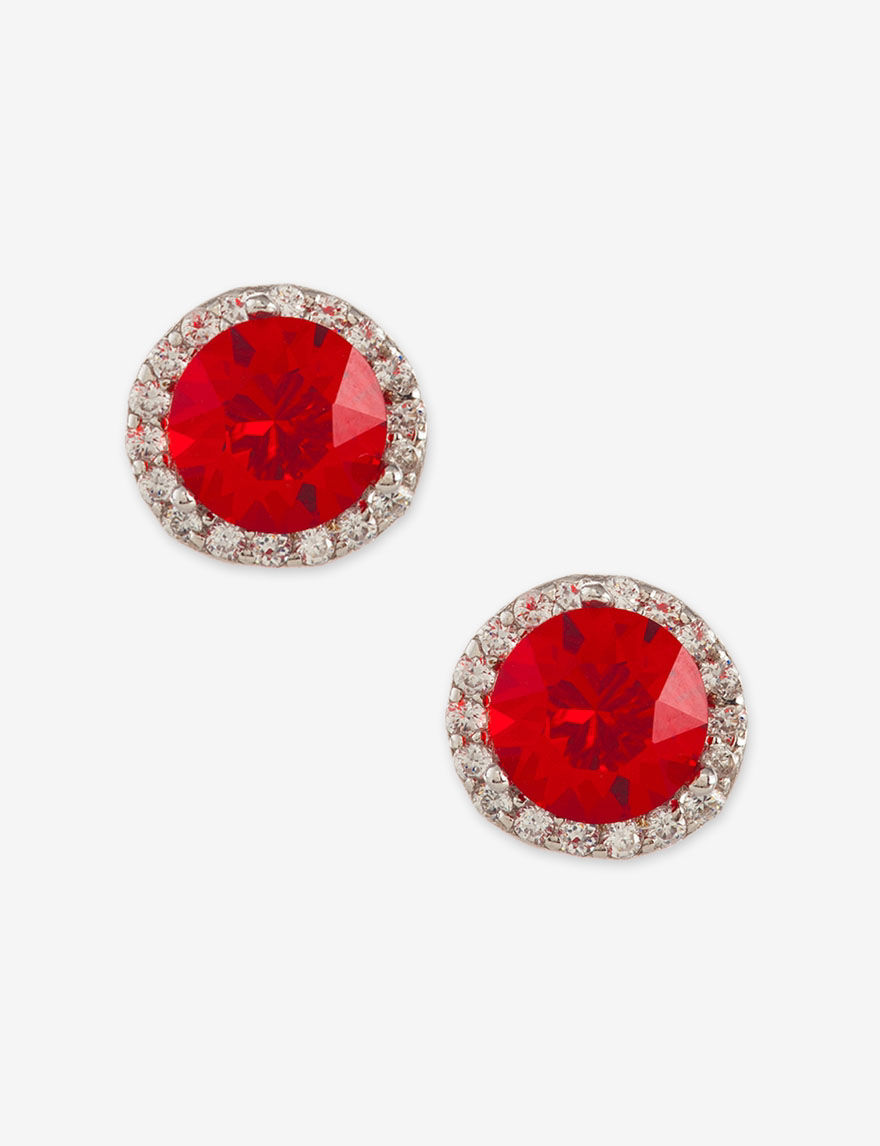 Athra Bright Red Studs Earrings Fine Jewelry
