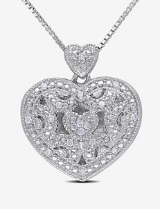 1/10 CT. T.W. Diamond Sterling Silver Heart Lock Pendant