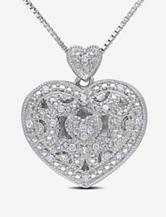1/10 CT. T.W. Diamond Sterling Silver Heart Lock Pendant