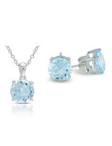 6 1/3 CT. T.W. Sky Blue Topaz Sterling Silver Pendant & Earrings Set