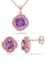 2 3/4 CT. T.G.W. Created Pink Sapphire Pendant & Earrings Set