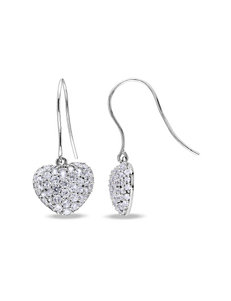 2 5/8 CT. T.G.W Created White Sapphire Heart Earrings