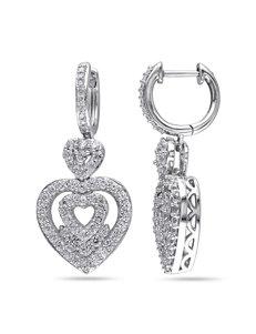 2 CT. T.G.W Created White Sapphire & Diamond Heart Earrings