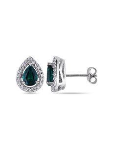 1 3/4 CT. T.W. Emerald & White Sapphire Sterling Silver Stud Earrings