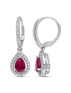 2 7/8 CT. T.W. Created Ruby & White Sapphire Sterling Silver Dangle Earrings